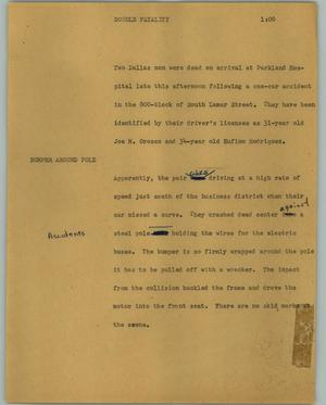 Primary view of object titled '[News Script: Double fatality]'.