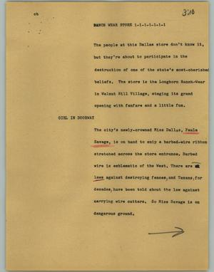 Primary view of object titled '[News Script: Ranch wear store]'.