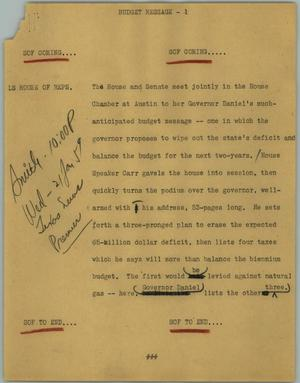 Primary view of object titled '[News Script: Budget message]'.