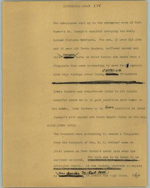 Primary view of object titled '[News Script: Electrical shock]'.