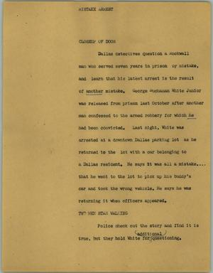 Primary view of object titled '[News Script: Mistake arrest]'.