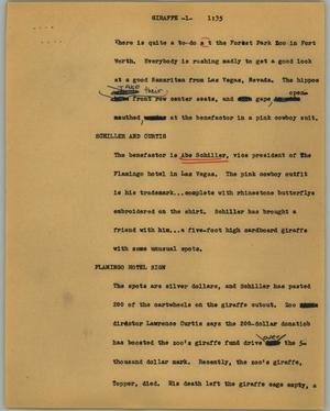 Primary view of object titled '[News Script: Giraffe]'.