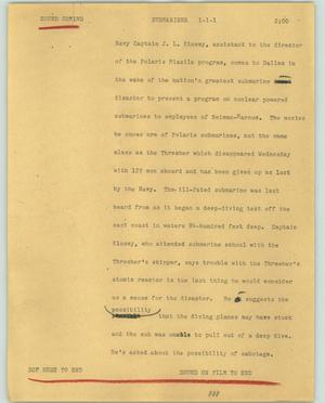 Primary view of object titled '[News Script: Submariner]'.