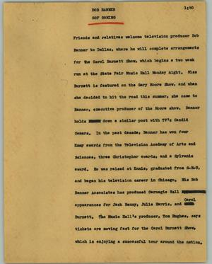 Primary view of object titled '[News Script: Bob Banner]'.