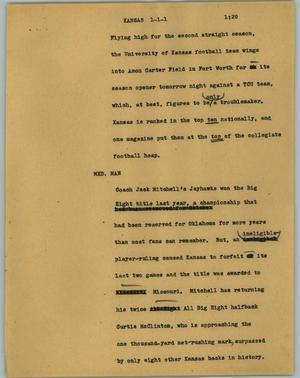 Primary view of object titled '[News Script: Kansas]'.