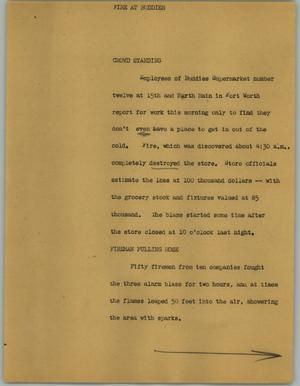 Primary view of object titled '[News Script: Fire at buddies]'.