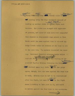 Primary view of object titled '[News Script: Duvall and kids]'.