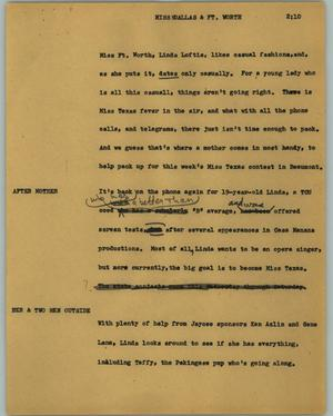 Primary view of object titled '[News Script: Miss Dallas & Ft. Worth]'.