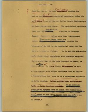 Primary view of object titled '[News Script: Jack Cox]'.