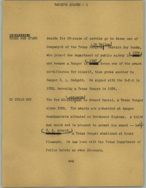 Primary view of object titled '[News Script: Rangers awards]'.