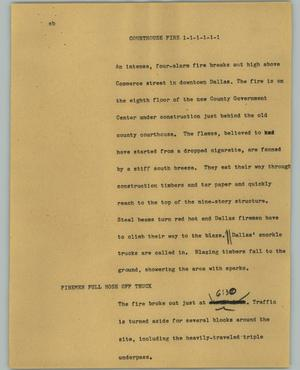 Primary view of object titled '[News Script: Courthouse fire]'.