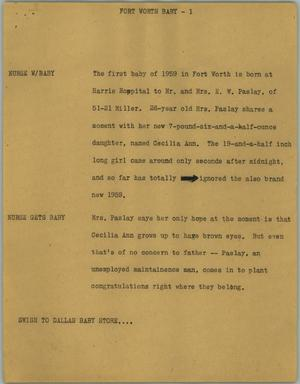 Primary view of object titled '[News Script: Fort Worth baby]'.