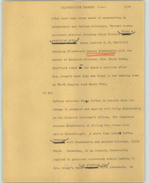 Primary view of object titled '[News Script: Blankenship charged]'.