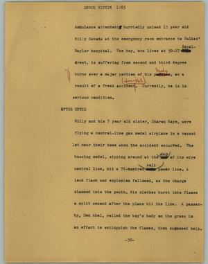 Primary view of object titled '[News Script: Shock victim]'.