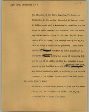 Primary view of object titled '[News Script: Labor dept. statistics]'.
