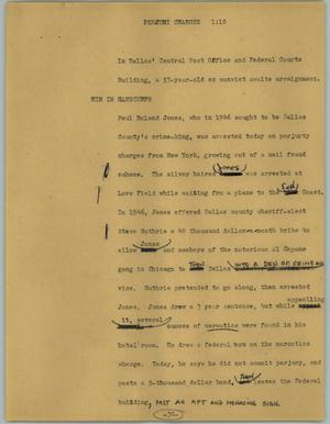 Primary view of object titled '[News Script: Perjury charges]'.