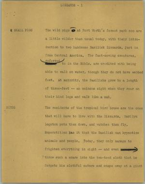 Primary view of object titled '[News Script: Lizzards]'.