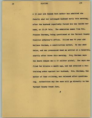 Primary view of object titled '[News Script: Slaying]'.