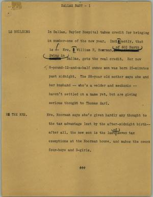 Primary view of object titled '[News Script: Dallas baby]'.
