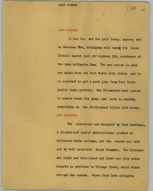 Primary view of object titled '[News Script: Golf course]'.