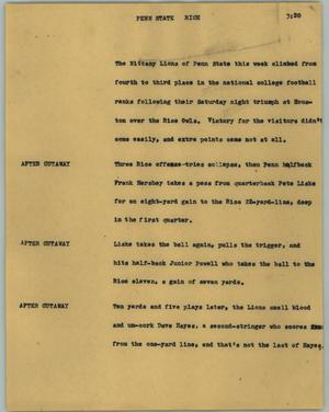 Primary view of object titled '[News Script: Penn State Rice]'.