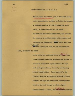 Primary view of object titled '[News Script: Fulton Lewis III]'.