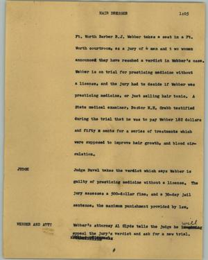 Primary view of object titled '[News Script: Hair dresser]'.
