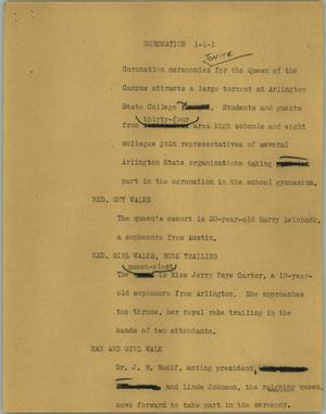 Primary view of object titled '[News Script: Coronation]'.