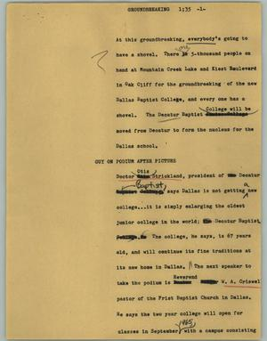 Primary view of object titled '[News Script: Groundbreaking]'.