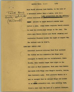 Primary view of object titled '[News Script: Mackin trial]'.