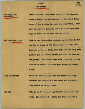 Primary view of object titled '[News Script: Coons]'.