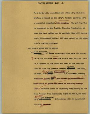 Primary view of object titled '[News Script: Traffic meeting]'.