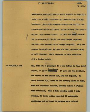 Primary view of object titled '[News Script: Ft. Worth wreck]'.