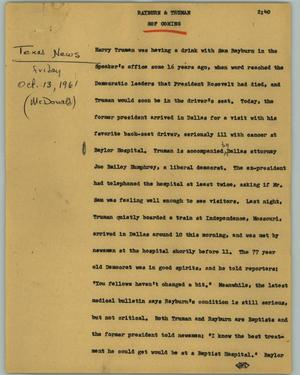Primary view of object titled '[News Script: Rayburn & Truman]'.
