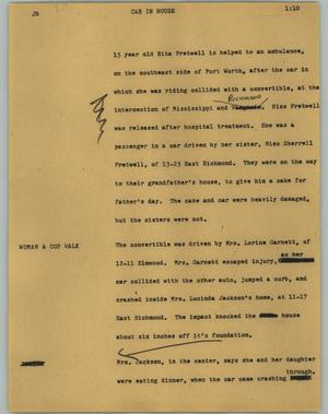 Primary view of object titled '[News Script: Car in house]'.