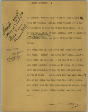 Primary view of object titled '[News Script: Negro shooting]'.