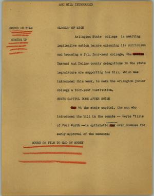 Primary view of object titled '[News Script: ASC bill introduced]'.