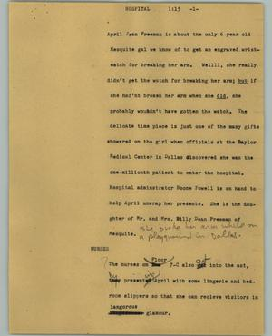 Primary view of object titled '[News Script: Hospital]'.