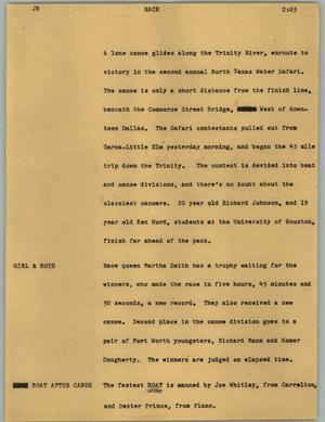 Primary view of object titled '[News Script: Race]'.