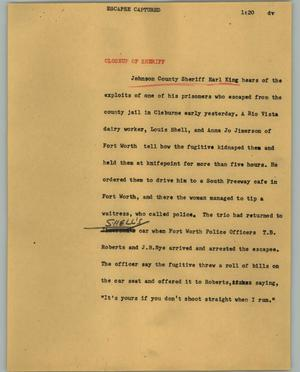 Primary view of object titled '[News Script: Escapee captured]'.