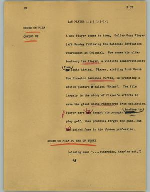 Primary view of object titled '[News Script: Ian player]'.