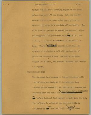 Primary view of object titled '[News Script: Oil refinery]'.