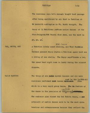 Primary view of object titled '[News Script: Tahitian]'.