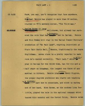 Primary view of object titled '[News Script: Fair lady]'.