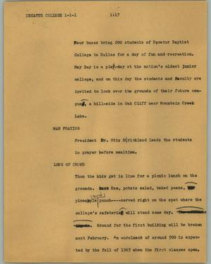 Primary view of object titled '[News Script: Decatur College]'.