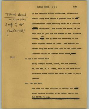 Primary view of object titled '[News Script: Nathan Curry]'.