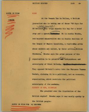 Primary view of object titled '[News Script: British bircher]'.