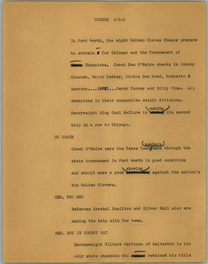 Primary view of object titled '[News Script: Boxers]'.