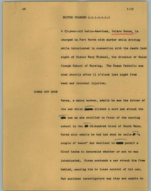 Primary view of object titled '[News Script: Driver charged]'.