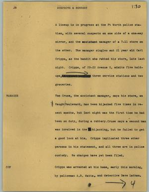 Primary view of object titled '[News Script: Suspects & robbery]'.